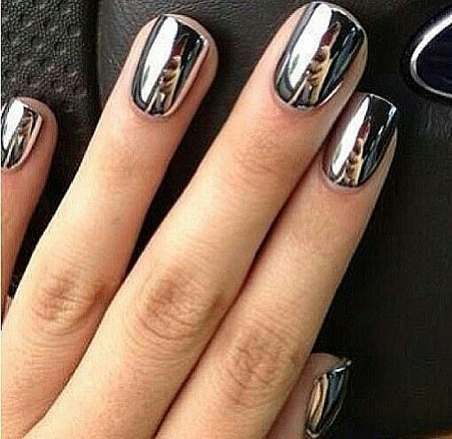 silver metallic nails