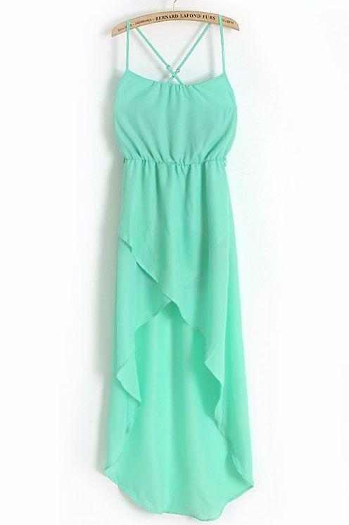 Green Bandeau Chiffon Dress ?