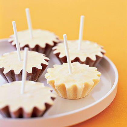 Mandarin Orange Cream Pops by myrecipes: Love the use of pastry tins! #Popsicles #Orange #myrecipes