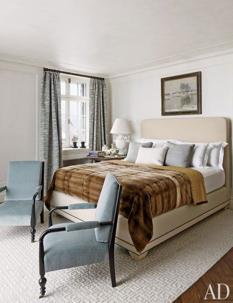 trend: fur or faux-fur coverlet on bed - Zurich guest bedroom designed by Steven Gambrel