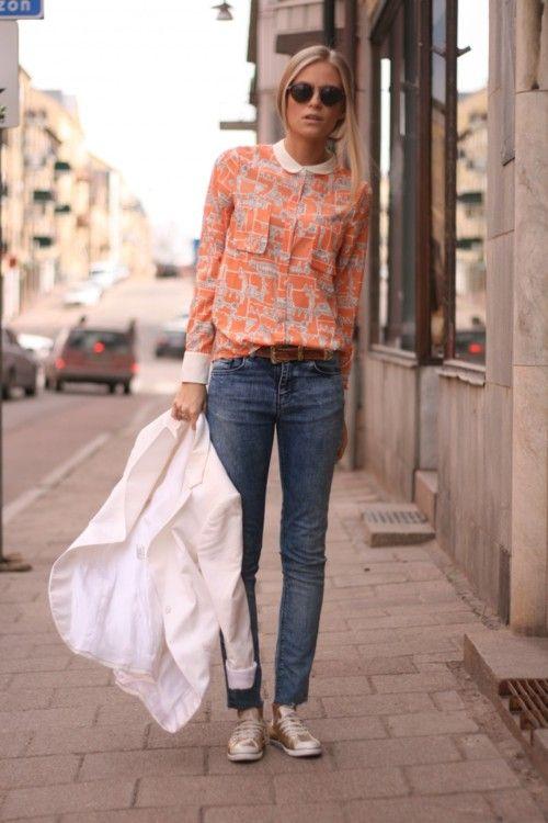 Shirt, jacket, jeans.