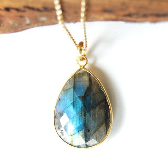 Keahi necklace - labradorite gold necklace, bezel pendant necklace, grey blue necklace, vermeil and gold filled, summer jewelry, hawaii