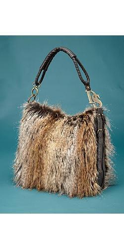 Tipped Feather Fox Hobo Handbag