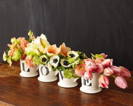L O V E flower arrangement