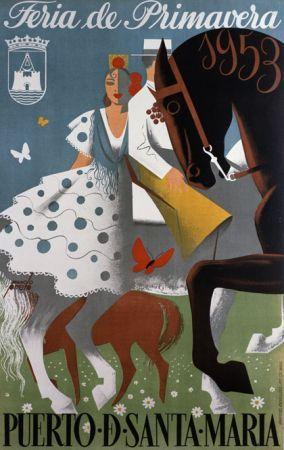 Feria de Primavera, Puerto de Santamaría, Spain 1953 vintage poster #vintage #travel #poster #spain