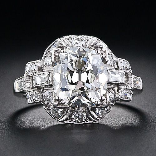 circa #1920s 3.03 Carat  Art Deco Diamond  Ring
