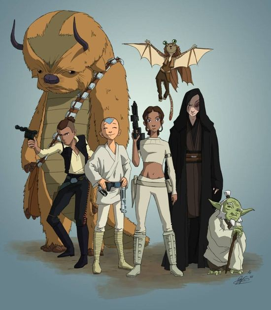 Avatar: The Last Airbender mashup with Star Wars, drawn by the supervising director of Star Wars: The Clone Wars, Dave Filoni.