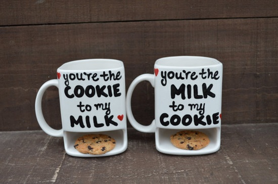 We Belong Together Like Cookies and Milk - His and Hers Ceramic Dunk Mug Set - MADE TO ORDER. $50.00, via Etsy. ?!!