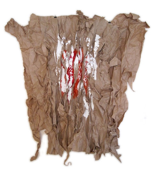 """Lisa Hochstein - paperwork - 2  46"""" x 36""""  brown paper, staples, acrylic and latex paint"""
