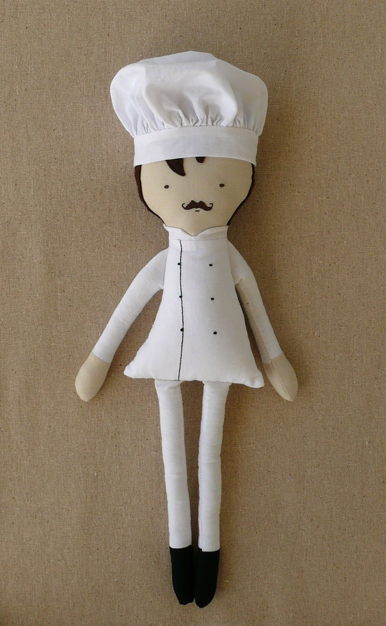 Fabric Doll Cloth Doll Chef Doll with Chef Hat.