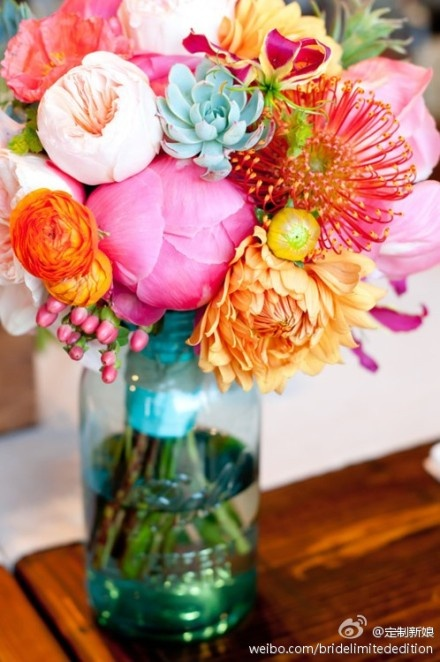 Peonies & Ranunculus with Succulents & Pincushions