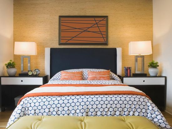 Orange, Yellow, and Blue Bedroom-When I see this, I imagine the perfect Guest Bedroom.