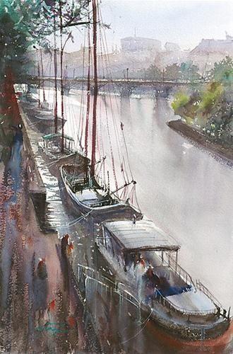 """La Seine, Paris V, France"" watercolour // © Keiko Tanabe"