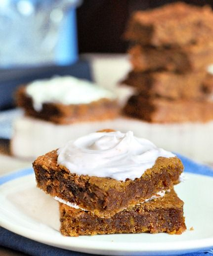 The BEST pumpkin bars I've ever tried. It's a happy coincidence they're healthy too!