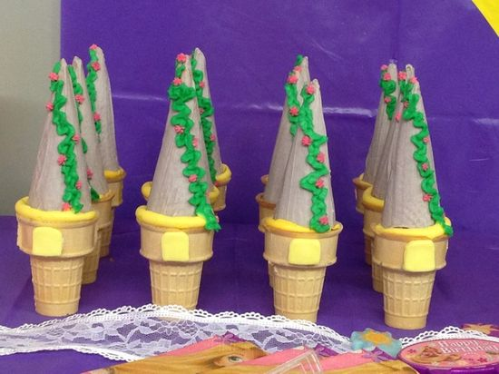 Ice cream cone towers at a Tangled Party #tangled #party