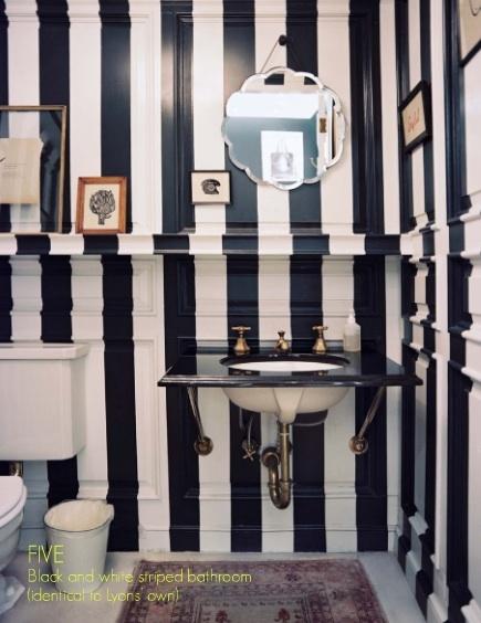 black and white striped lonny bathroom