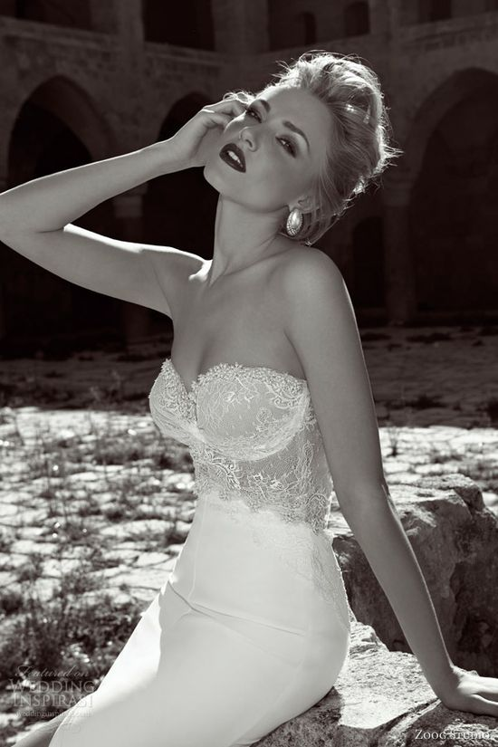zoog bridal 2013 strapless wedding dress lace bodice