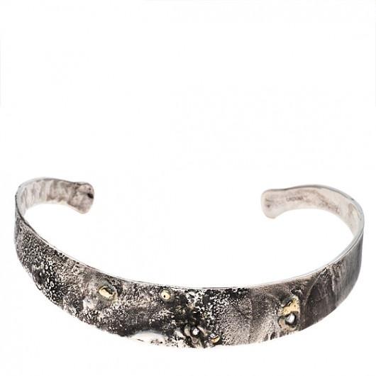 Beth Orduna. Silver, Gold & Diamond Choker Necklace