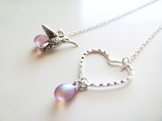 Sweet Heart Nectar Drops Necklace  Silver by petitehermine on Etsy, $17.50