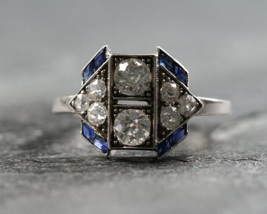 Deco diamond and sapphire ring.