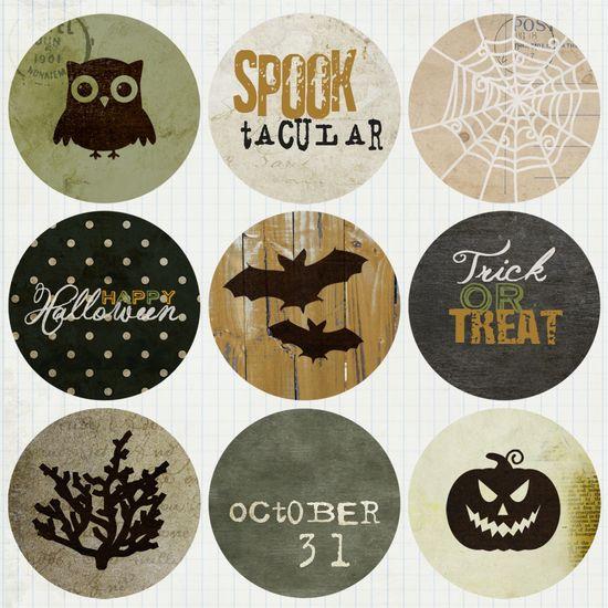 FREE printable Vintage Halloween Circle Tags