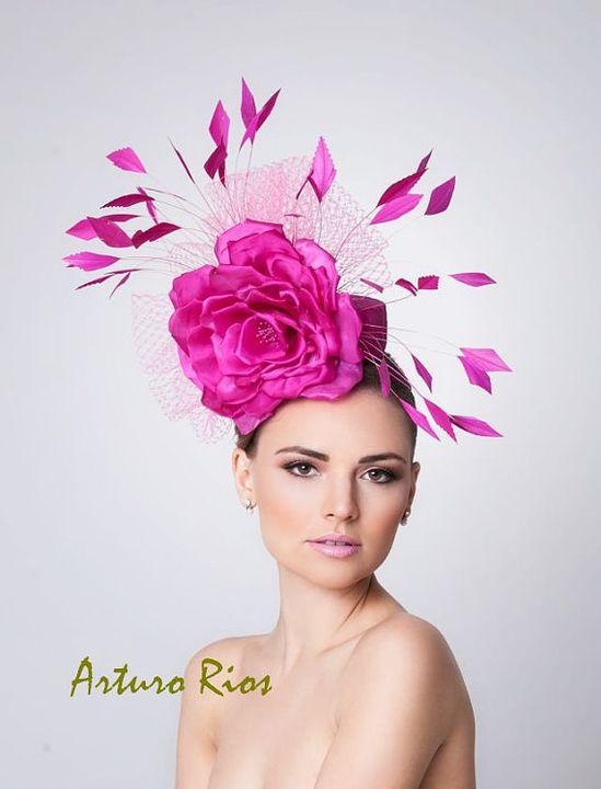 Hot Pink Fascinator Cocktail Hat Kentucky derby hat by ArturoRios, $198.00