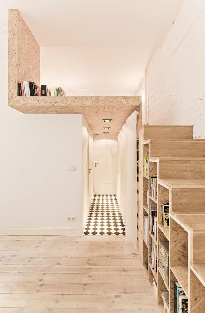 Always had a love affair for lofts! Loving this idea of using shelves as stairs :)