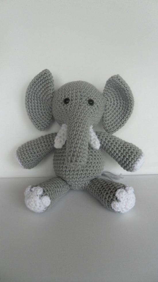 Crochet Elephant Amigurumi Toy Stuffed Animal Doll Grey and White. $32.50, via Etsy.