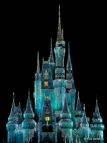 Cinderella's castle with twinkle lights- Amazing!