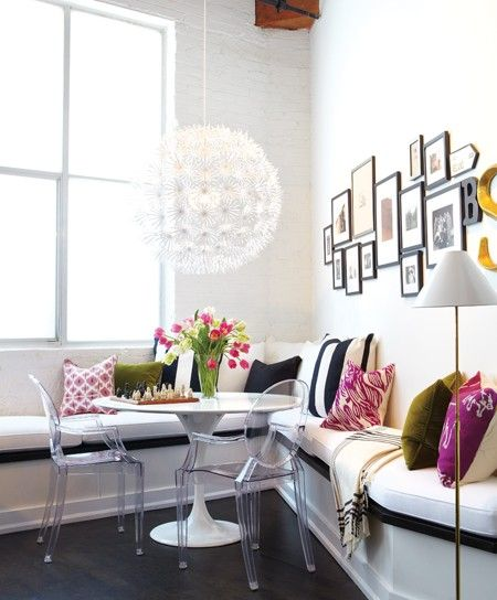 eclectic banquette dining area