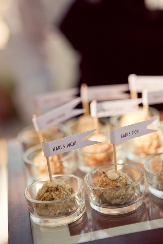 Bride and Groom each serve their dessert pick, cute idea! Photography by Carlie Statsky Photography / carliestatsky.com, Wedding Design  + Planning by Amy Byrd Weddings / amybyrdweddings.com