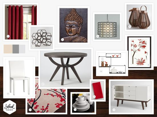 Asian inspired dining room with red accents. // www.LookNook.co