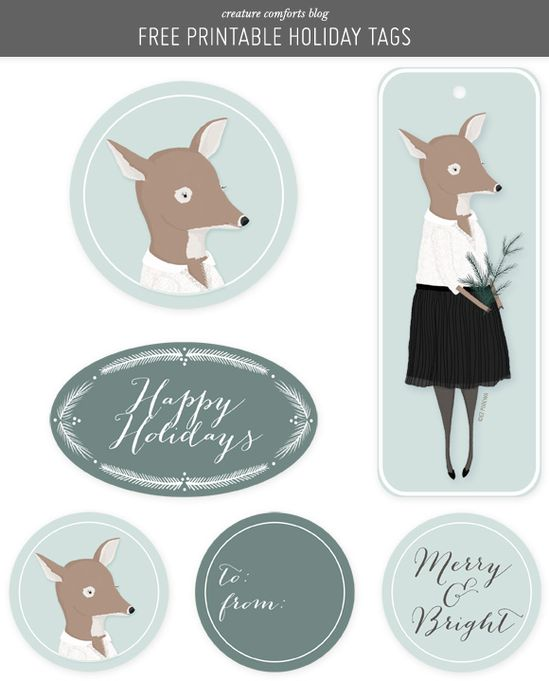 Free Printable Holiday Gift Tags from Creature Comforts