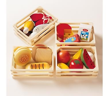 Kids' Kitchen & Grocery: Kids Toy Wooden Food Set