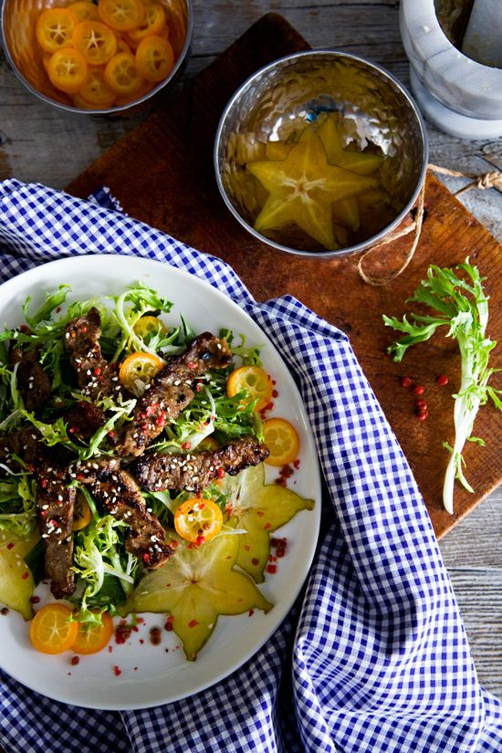 Grilled Lemongrass Beef Salad by tartineandapronstrings #Salad #  Beef