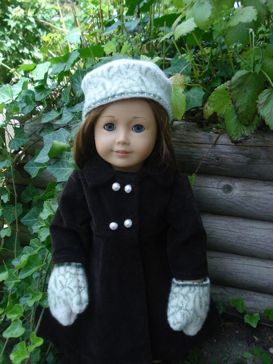 American Girl Doll Hat and Mittens Felted Wool by DonnaDesigned, $15.00