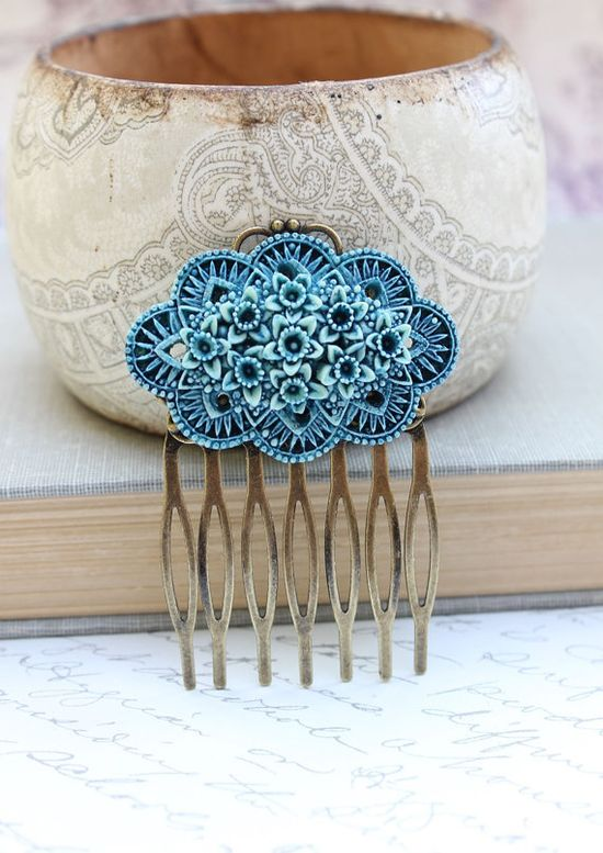 Flower Hair Comb Teal Blue Daffodil Vintage by apocketofposies