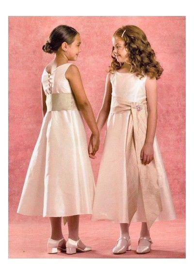 wavy hair + hair in bun  Taffeta detachable Sash with A Line Skirt Flower Girl Dress