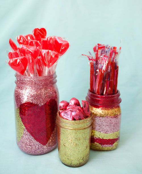 glitter jars/vases--love glitter!