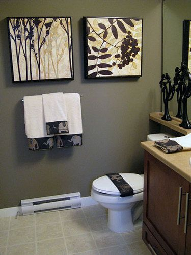 Bathroom Decorating Tips- Downstairs Bathroom Idea :) wall color and Decor I like :)