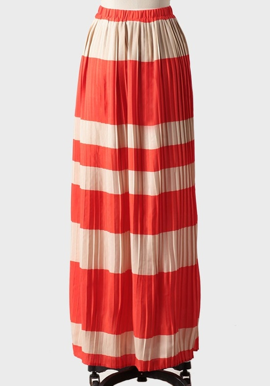 bold striped pleated maxi. so fun or the summer!
