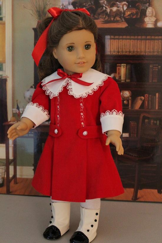 Red Corduroy Christmas Dress for Samantha or Rebecca. $45.00, via Etsy.