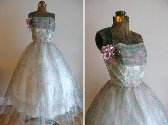 Pink and Green Vintage Chiffon Party Dress