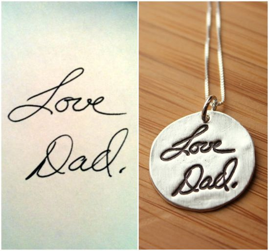 Custom Handwriting or Artwork Necklace from Fine Silver using Actual Hand Writing or Signature via Etsy