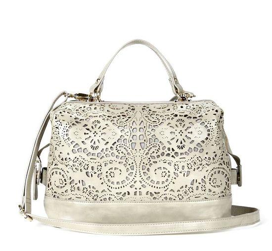 Beautiful detailed white handbag.