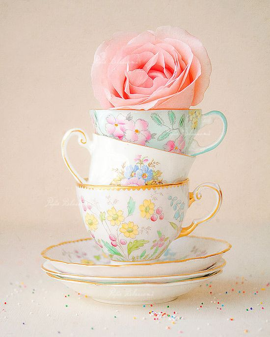 cottage chic,cottage decor, granny's tea cups,pink rose,shabby chic decor,shabby chic home,pastel colors,shabby chic wall decor. $35.00, via Etsy.