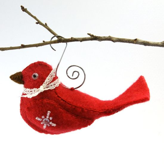 Bird Sewing Pattern PDF Tutorial Christmas Ornament by EdytheAnne
