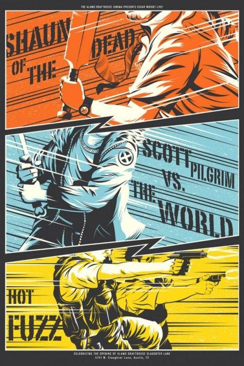 Edgar Wright Triple Bill Mondo Poster by Kevin Tong