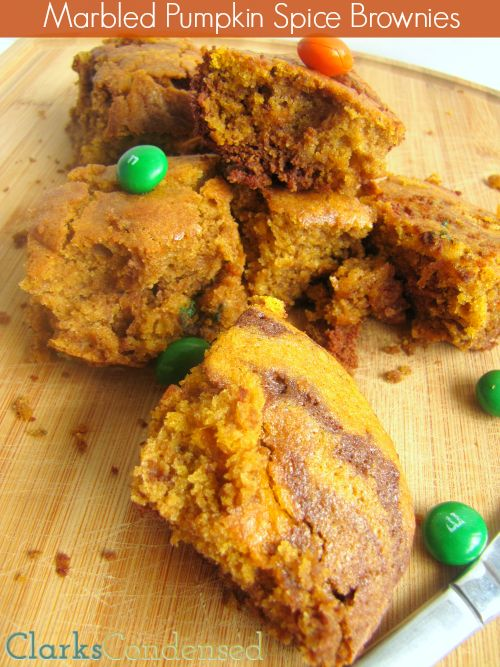 Marbled Pumpkin Brownies -- made with pumpkin, pumpkin spice M&MS, and chocolate!