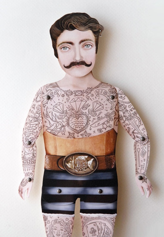 victorian tattooed paper puppet